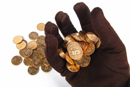 Gloves and coin Stock Photo - 13375398