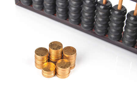 Coins and abacus photo