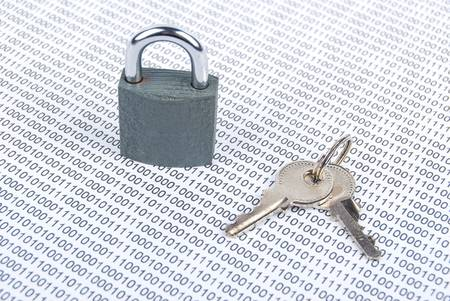 Padlock and binary code Stock Photo - 13446799
