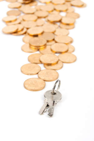 Key and coins Stock Photo - 13542707