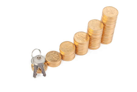mortgaging: Key and coins
