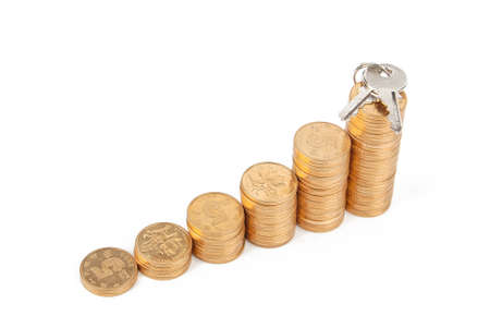 Key and coins Stock Photo - 13497539