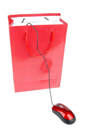 Shopping bag and computer mouse photo