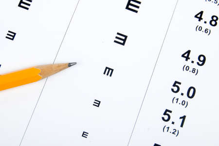 eye chart: Eye chart and pencil
