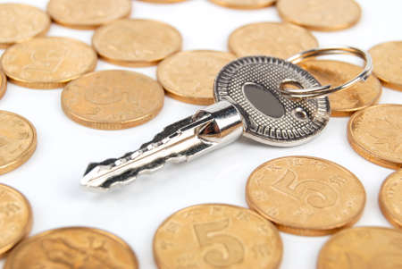 Coins and key Stock Photo - 13542934