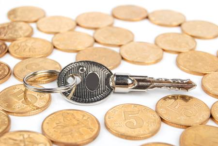 Coins and key Stock Photo - 13542939