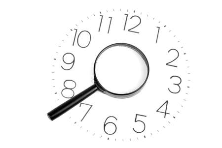 Magnifier and clock Stock Photo - 13446849