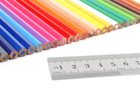 Color pencil and stainless steel ruler photo