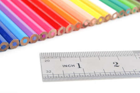 Color pencil and stainless steel ruler Stock Photo - 13447472