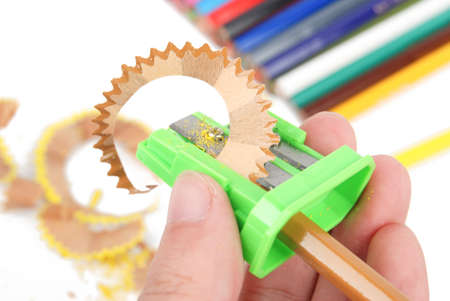 Sharpener and color pencil photo