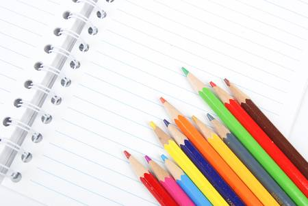 Color pencil and notebook Stock Photo - 13447841