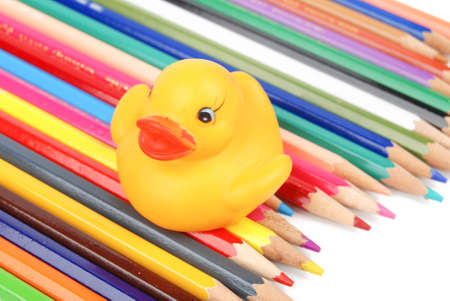 Color pencil and rubber duck photo