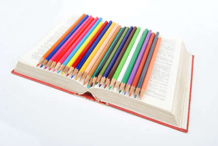 Color pencil and dictionary photo