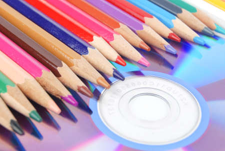 Color pencil and DVD Stock Photo - 13447962