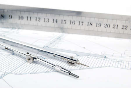 Ruler,compass and blueprint photo
