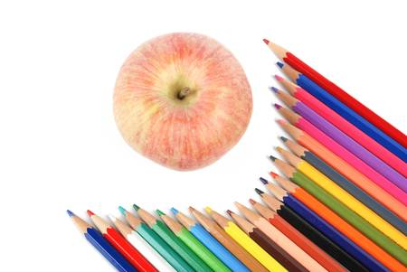 Apple and color pencil photo