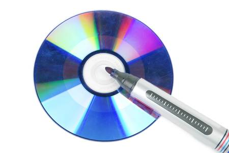indelible: DVD and mark pen Stock Photo