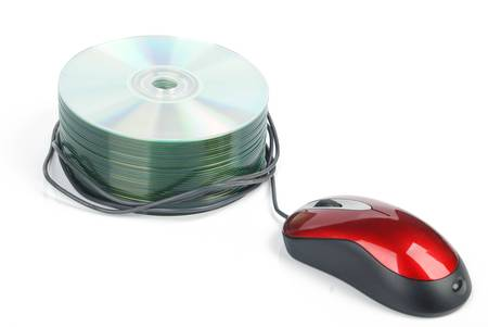 DVD and red computer mouse photo