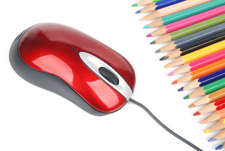 Computer mouse and color pencil photo