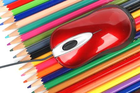 Computer mouse and color pencil Stock Photo - 13459613