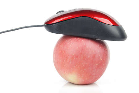 Red computer mouse and apple photo