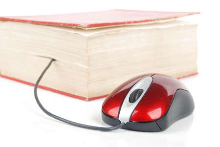 Red computer mouse and book Stock Photo - 13449719