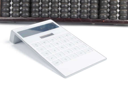 calculator chinese: Chinese abacus and calculator Stock Photo