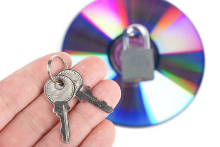 DVD and padlock with key Stock Photo - 13488583