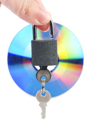 DVD and padlock with key Stock Photo - 13481499