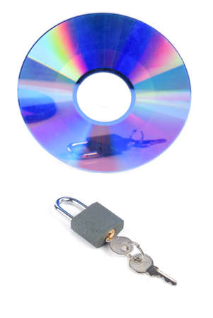 DVD and padlock with key photo