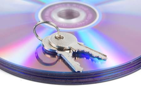 DVD and key Stock Photo - 13488577