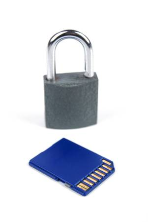SD card and padlock Stock Photo - 13478941