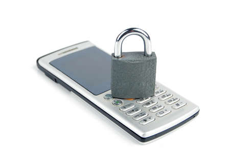 Mobilephone and padlock Stock Photo - 13480309