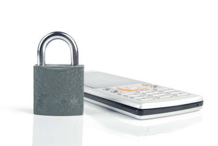 Mobilephone and padlock Stock Photo - 13480321