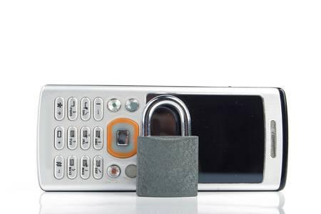 Mobilephone and padlock Stock Photo - 13488112