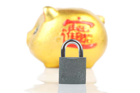 Piggy bank and padlock Stock Photo - 13480229