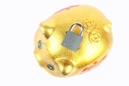Piggy bank and padlock Stock Photo - 13489219