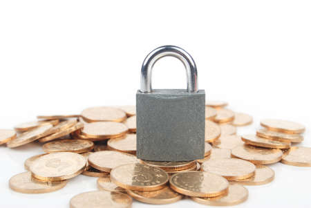 Coins and padlock photo
