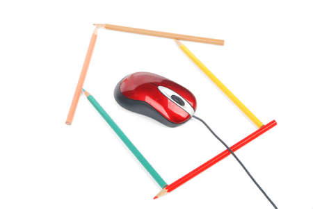 Pencils shape and Computer mouse photo