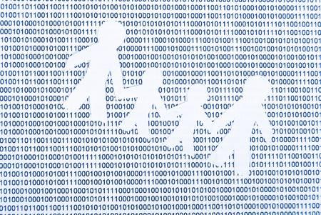 Peper man on binary code photo