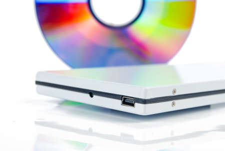 rewrite: Mobile hard disk with DVD Stock Photo