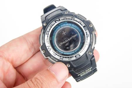 Lithium battery with digital watch Stock Photo - 13519901
