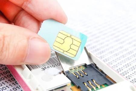 Sim card with cellphone photo