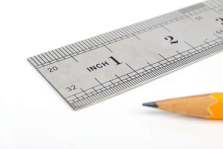 Steel ruler and pencil Stock Photo - 13519702