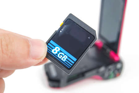 SD card with camcorder Stock Photo