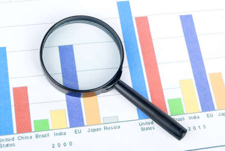 Magnifier on financial graph photo