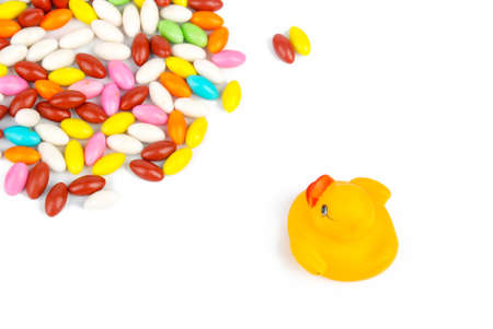 Rubber duck with candies photo