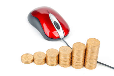 Red computer mouse and golden coins Stock Photo - 13560612