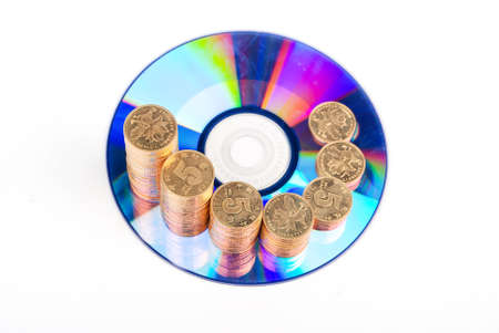 Golden coins with DVD photo