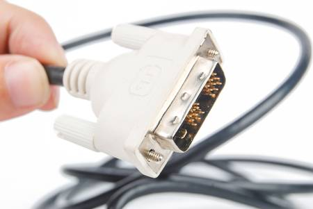 dvi: DVI cable on white background